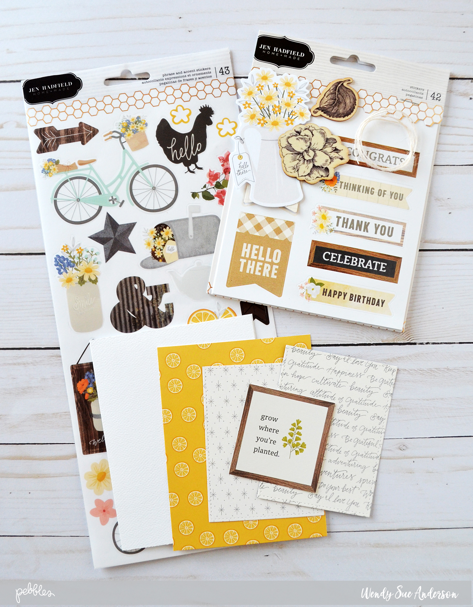 "step-by-step instructions by @wendysuea for creating pretty layered cards with the ""Simple Life"" collection by @PebblesInc."