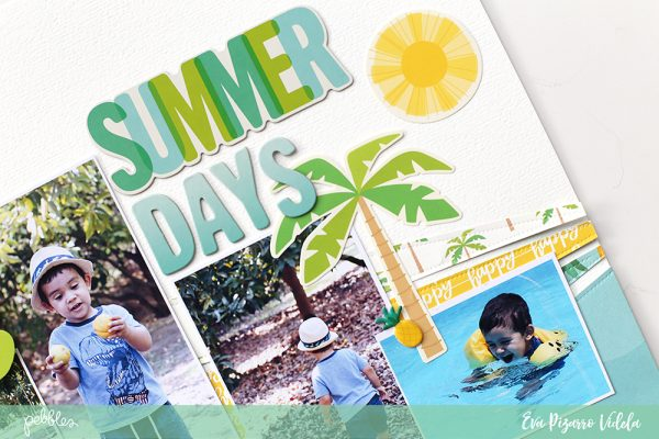 Scrap your summer photos with this step by steo layout by @evapizarrov and @pebblesinc new line #sunshinydays #madewithpebbles #pebblesinc
