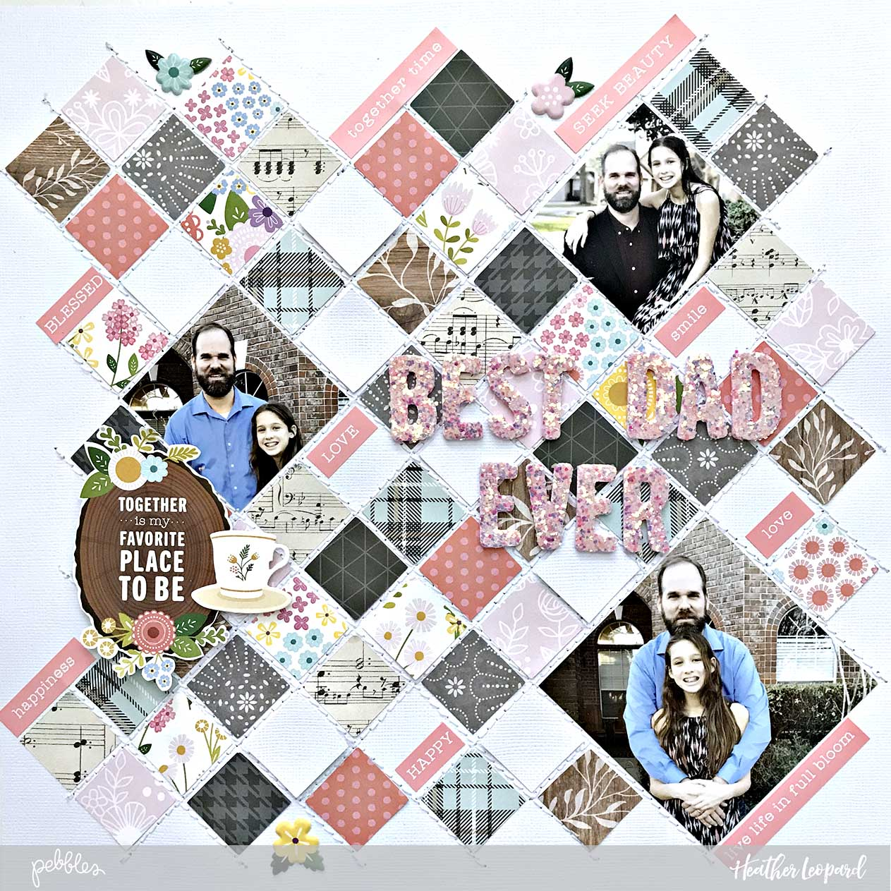 Father's Day Scrapbook Layout and Free Cut File by @heatherleopard for @pebblesinc #madewithpebbles #fathersday #heatherleopard #silhouettecameo #cutfile