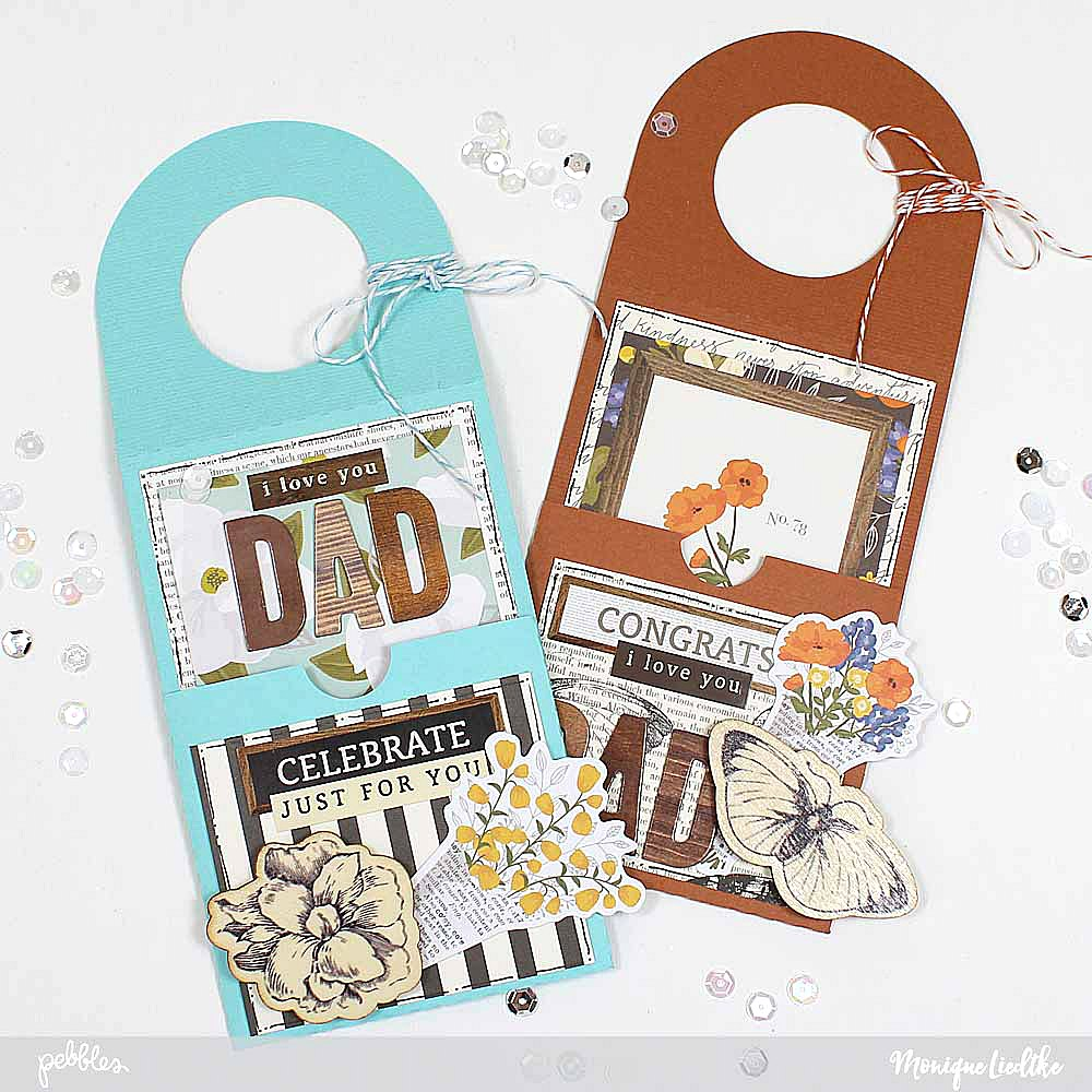 Father's Day Wine Bottle Tags a step-by-step tutorial by @moniqueliedtke with the #Simple_Life collection by @PebblesInc #madewithpebbles #pebblesinc #wine_bottle_tag #fathersday