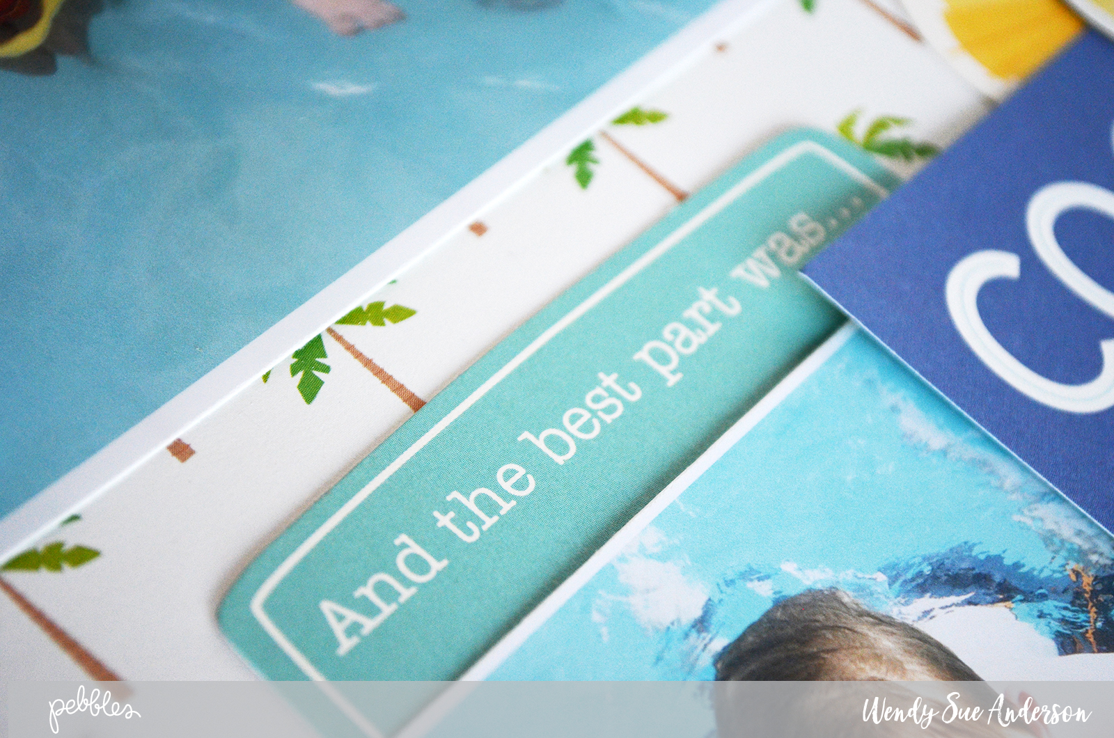 "Quick and Easy ""Sunshiny Days"" summer pool layout by @wendysuea for @pebblesinc."