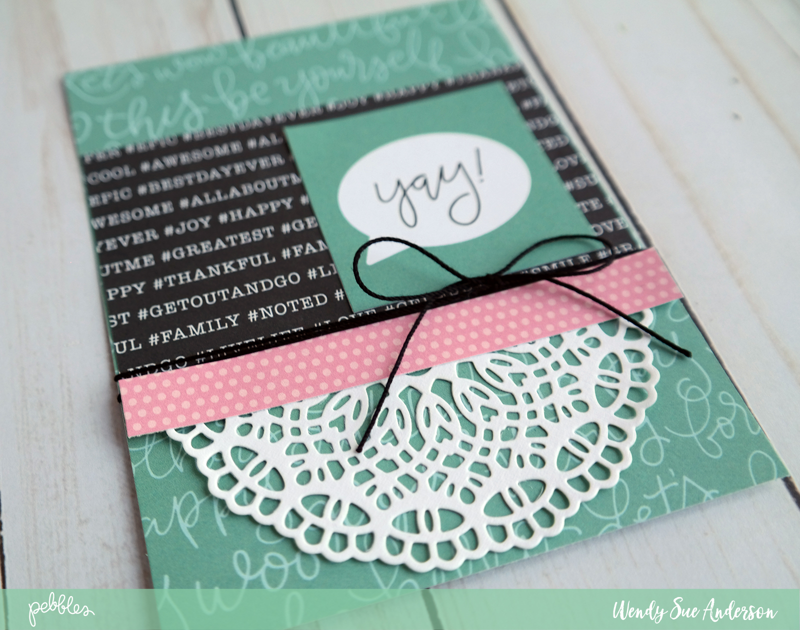 "Let the journaling on the patterned papers say it for you - like these cards by @WendysueA featuring the ""Girl Squad"" collection by @PebblesInc."