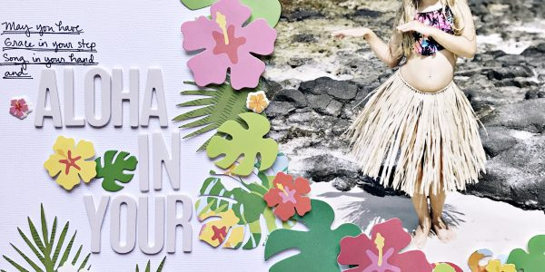 Hula Girl scrapbook layout, free cut file and tutorial