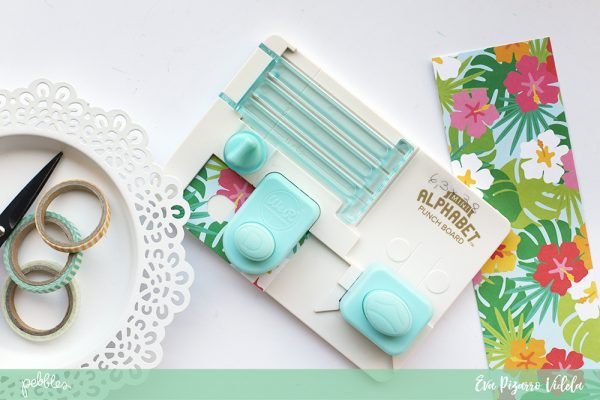 Create a patterned paper title with your Alphabet Punch Board and your favorite Sunshiny Days Papers. pc:@evapizarrov for @pebblesinc #pebblesinc #madewithpebbles