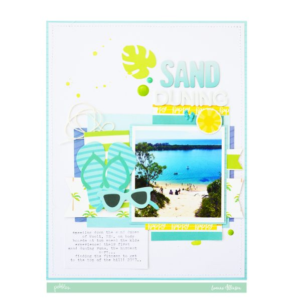 Use layers of @PebblesInc Sunshiny Days patterned paper to build a base for the perfect beach layout.