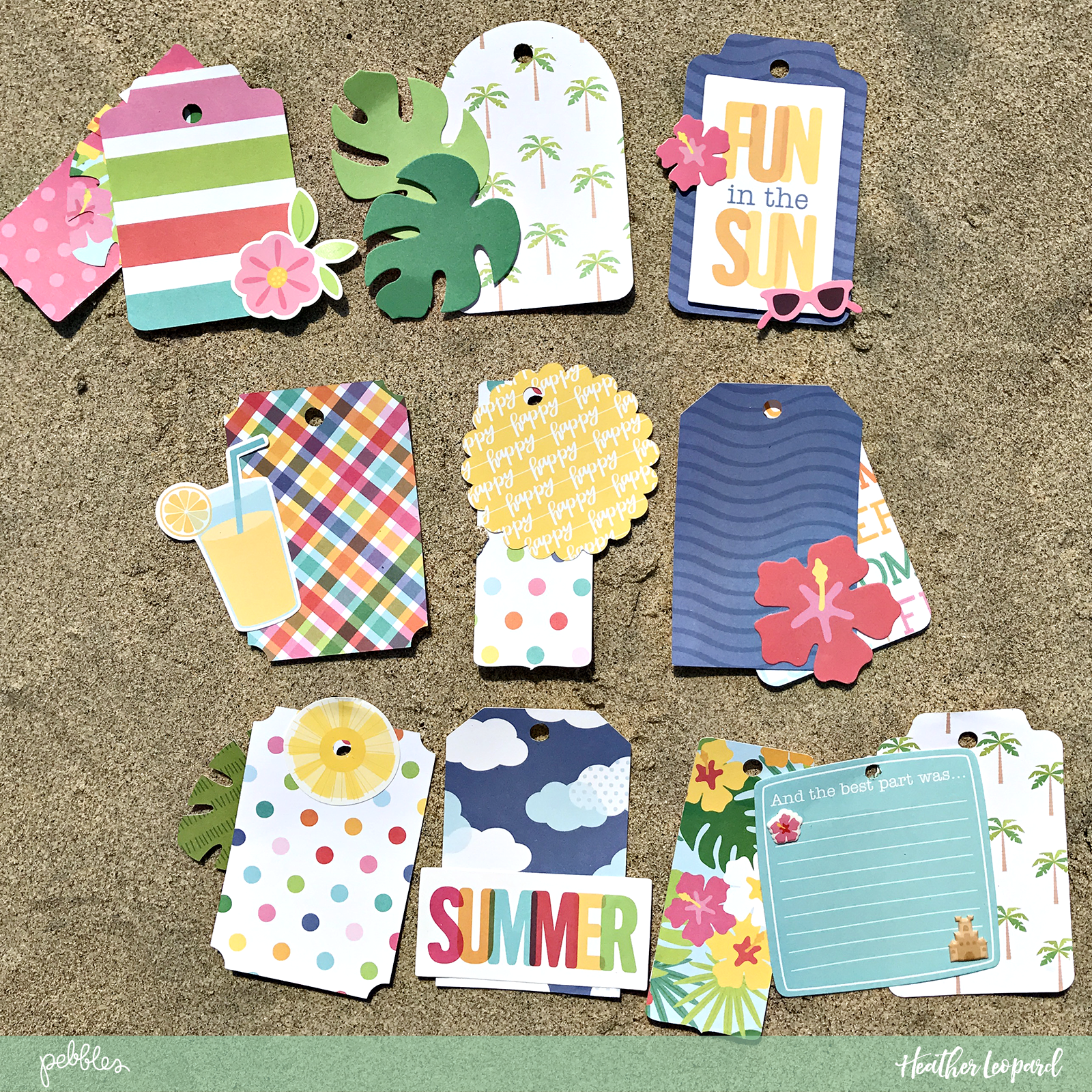 Quick Beach Tag Mini Album by @heatherleopard using the #Sunshiny_Days collection by @PebblesInc #madewithpebbles #pebblesinc #minialbum #tags #summer #beach #beachdays #hawaii