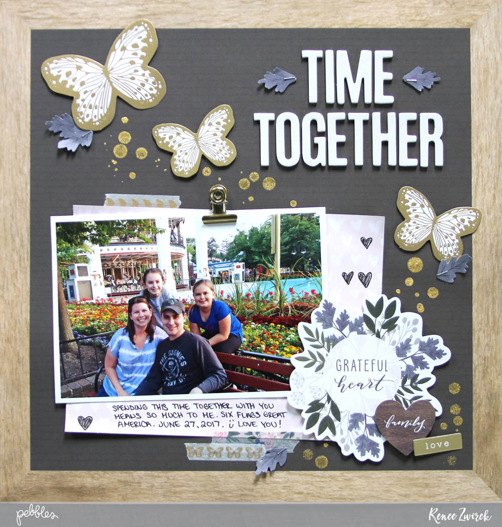 Create a letter board inspired scrapbooking layout with this Time Together Layout by @reneezwirek using the #HeartOfHome collection by @pebblesinc and @Tatertots and Jello .com