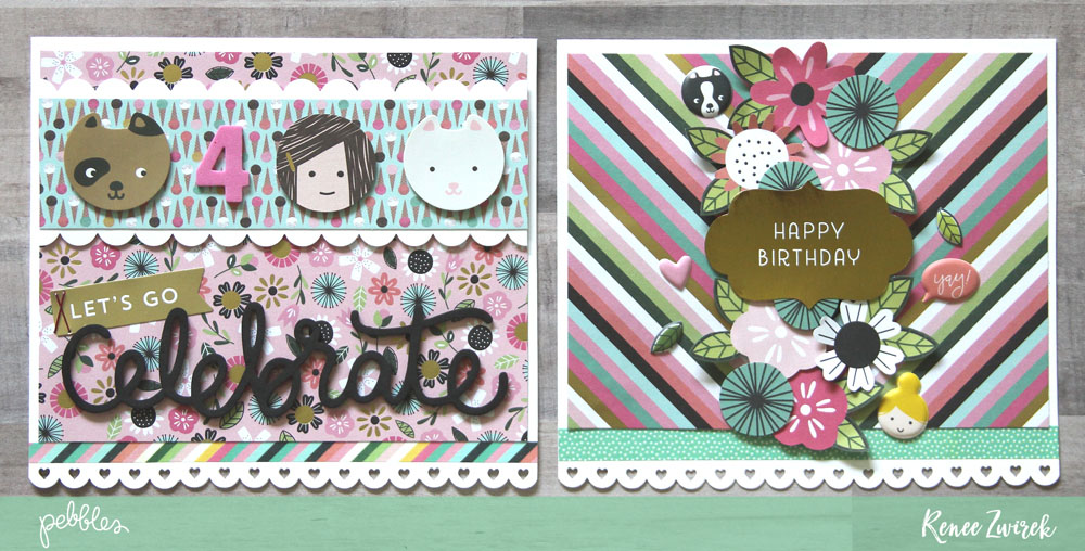 Create fun celebration cards for any age with these Birthday Cards by @reneezwirek using the #GirlSquad collection by @pebblesinc