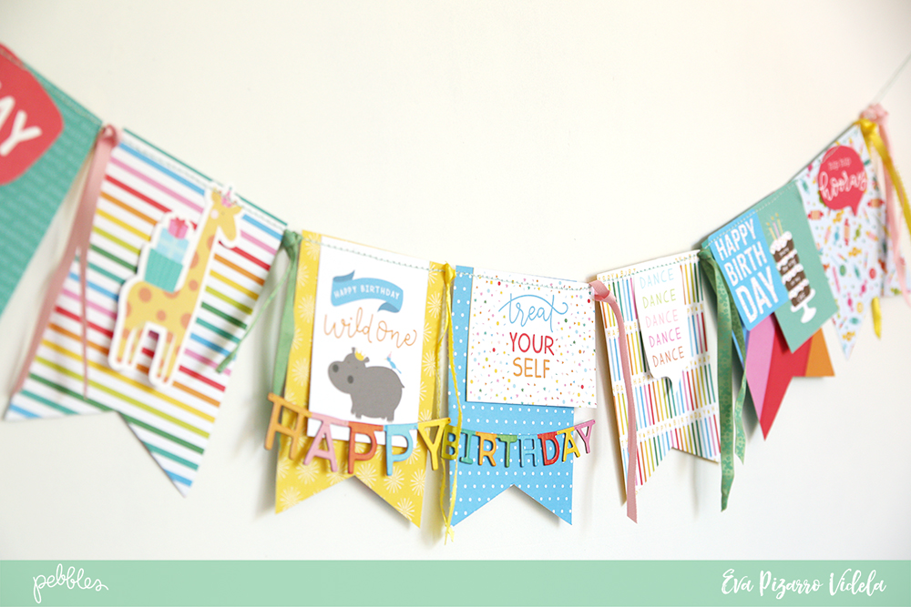 birthday banner featuring happy horray pebbles inc