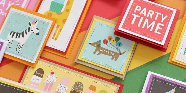 Happy Hooray birthday mini cards created by @moniqueliedtke with the #Happy_Hooray_collection by @PebblesInc #madewithpebbles #pebblesinc #happy_hooray_birthday_mini_cards