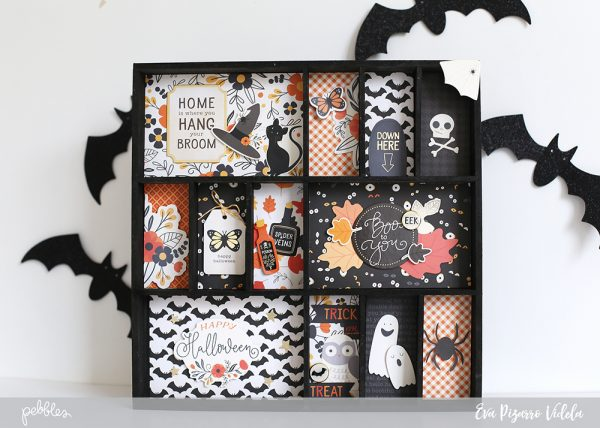 Create a spooky Halloween Shadowbox with this tutorial from @evapizarrov using @pebblesinc #midnighthauting line! #madewithpebbles #pebblesinc