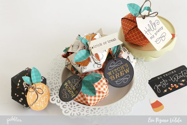 Create Pumpkin Treat Bags and surprise your guests with this tutorial form @evapizarrov and @pebblesinc new collection Midnight Haunting #pebblesinc #madewithpebbles