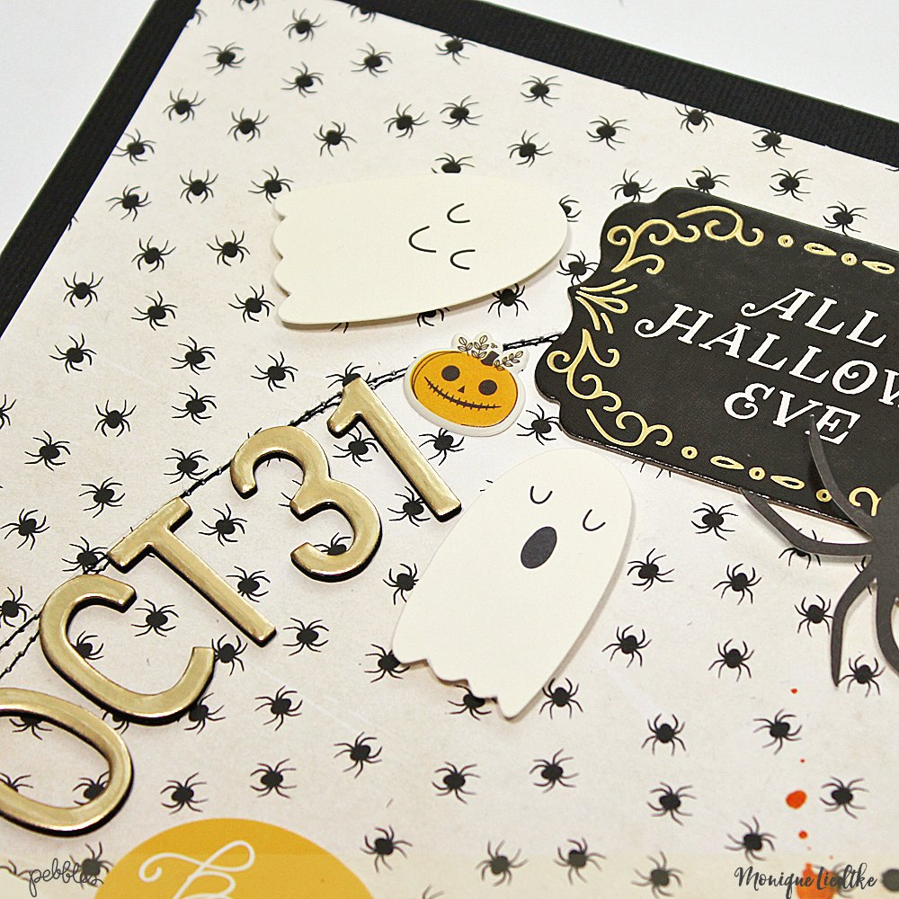 Halloween Layout by @moniqueliedtke with the #Midnight_Haunting_collection by @PebblesInc #madewithpebbles #pebblesinc #halloween_layout