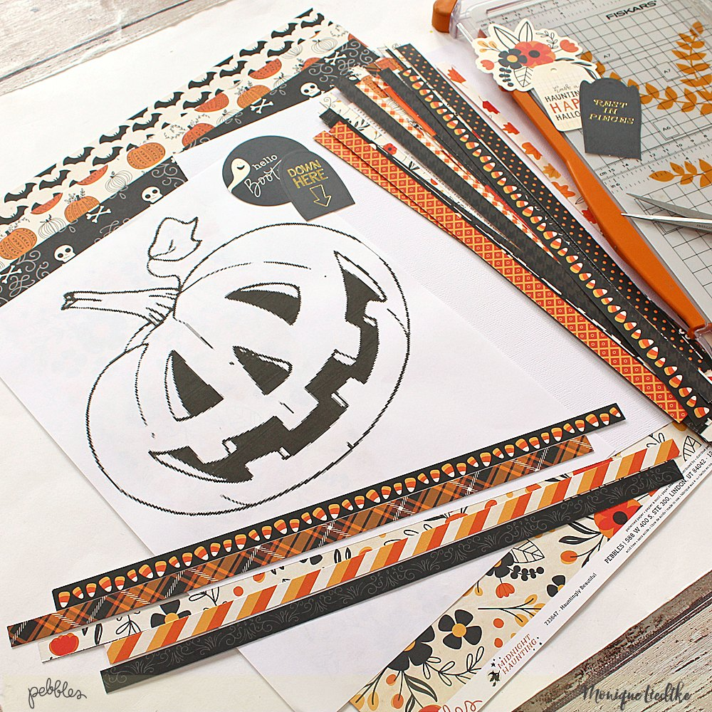 Create Fall Layout by paper weaving a pumpkin by @moniqueliedtke with the #Midnight_Haunting_collection by @PebblesInc #madewithpebbles #pebblesinc #paper_weaving_pumpkin_layout