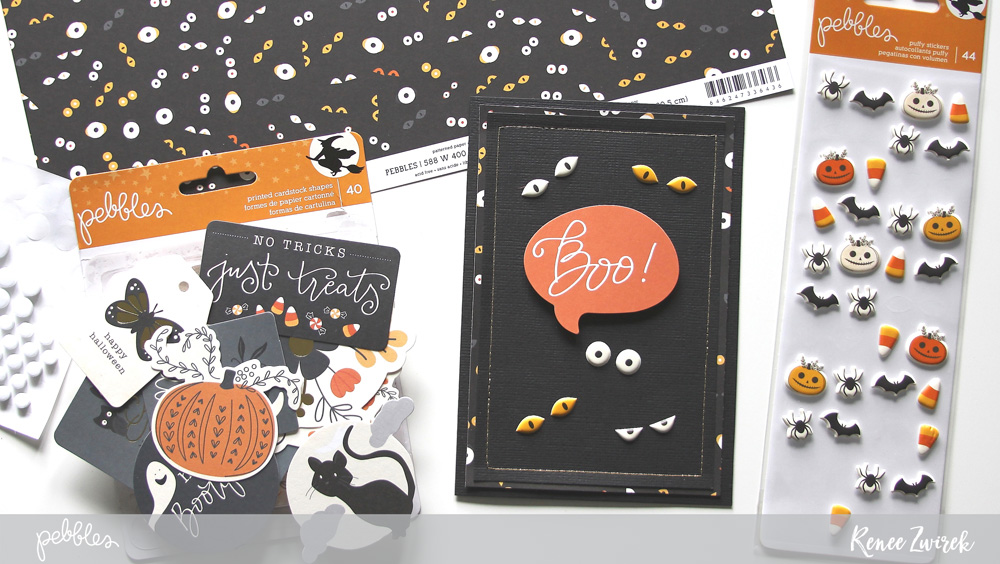 Create quick and simple holiday cards with these Happy Halloween Cards by @reneezwirek using the #MidnightHaunting collection by @pebblesinc