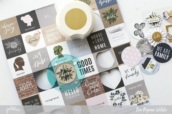 Use your Circle Punch and the new #HeartofHome collection from @pebblesinc to create a gorgeous Grid Layout p.c. @evapizarrov #madewithpebbles #pebblesinc