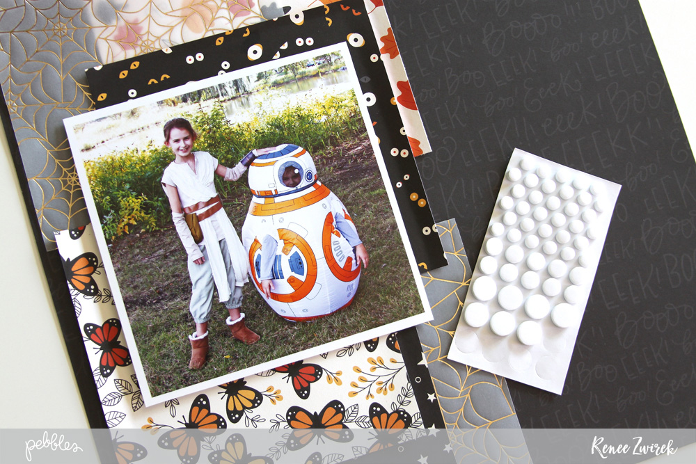 Scrapbook memories of your children in their halloween costumes with this Rey & BB-8 layout by @reneezwirek using the #MidnightHaunting collection by @pebblesinc