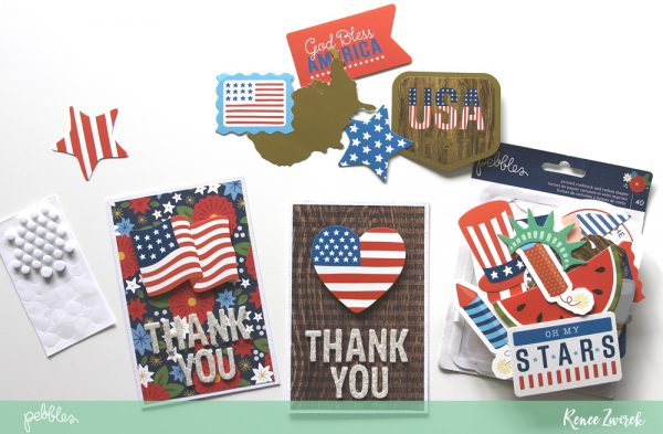 Celebrate and thank those who have served in the United States military with these Veteran's Day Thank You Cards by @reneezwirek using the America the Beautiful collection by @pebblesinc
