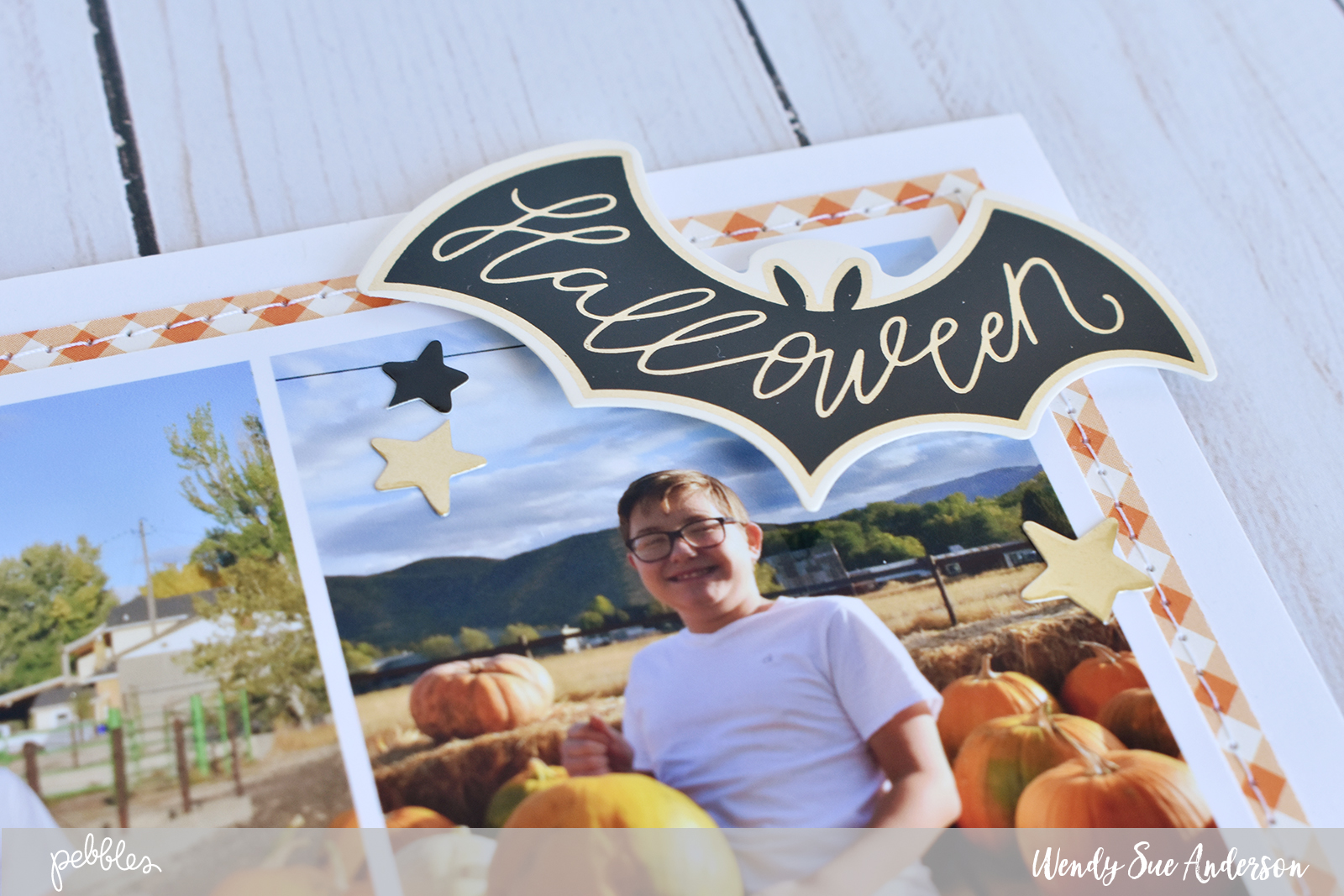 "Pumpkin layout by @WendySue with the ""Midnight Haunting"" collection by @PebblesInc."