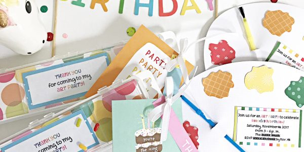 DIY Art Party Birthday Invitations and Party Favors