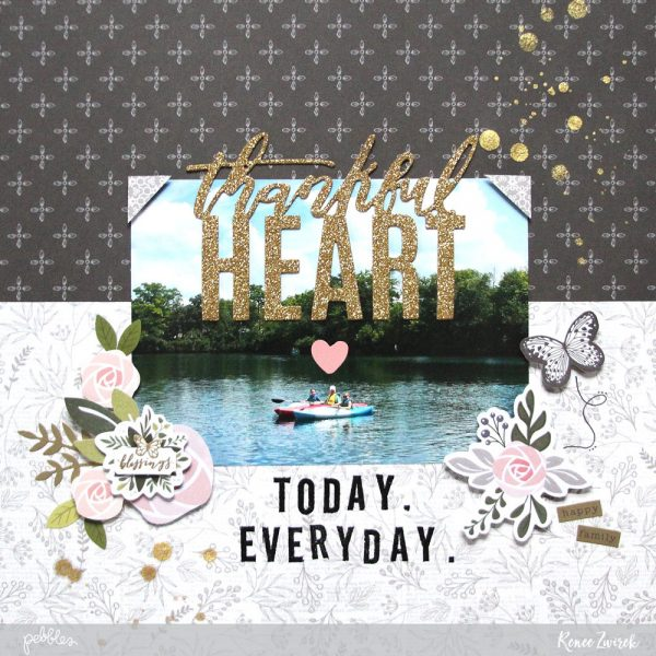 Thankful Heart Layout by @reneezwirek using the #HeartOfHome collection by @pebblesinc and @Tatertots and Jello .com