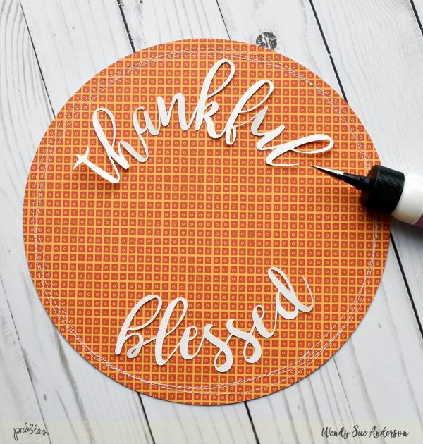 "Quick and Easy Thanksgiving Decor project by @WendySue for @PebblesInc with the ""Midnight Haunting"" collection"
