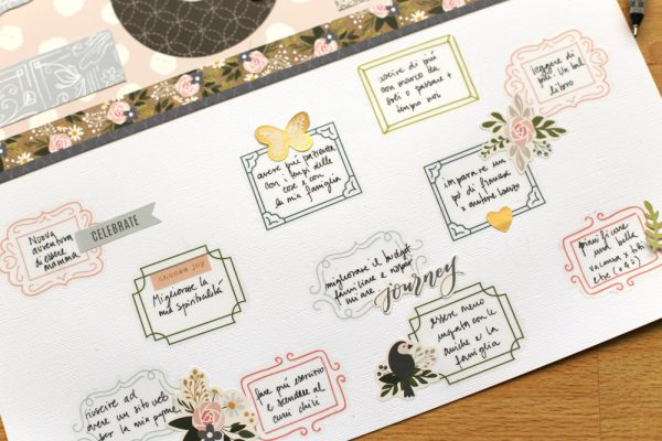 Use the Jen Hadfield @pebblesinc sticker book to create a quick non photo layout pc:@evapizarrov