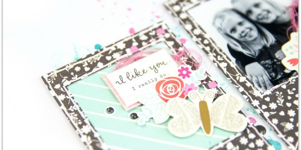 Love and Splashes on a Scrapbook Page