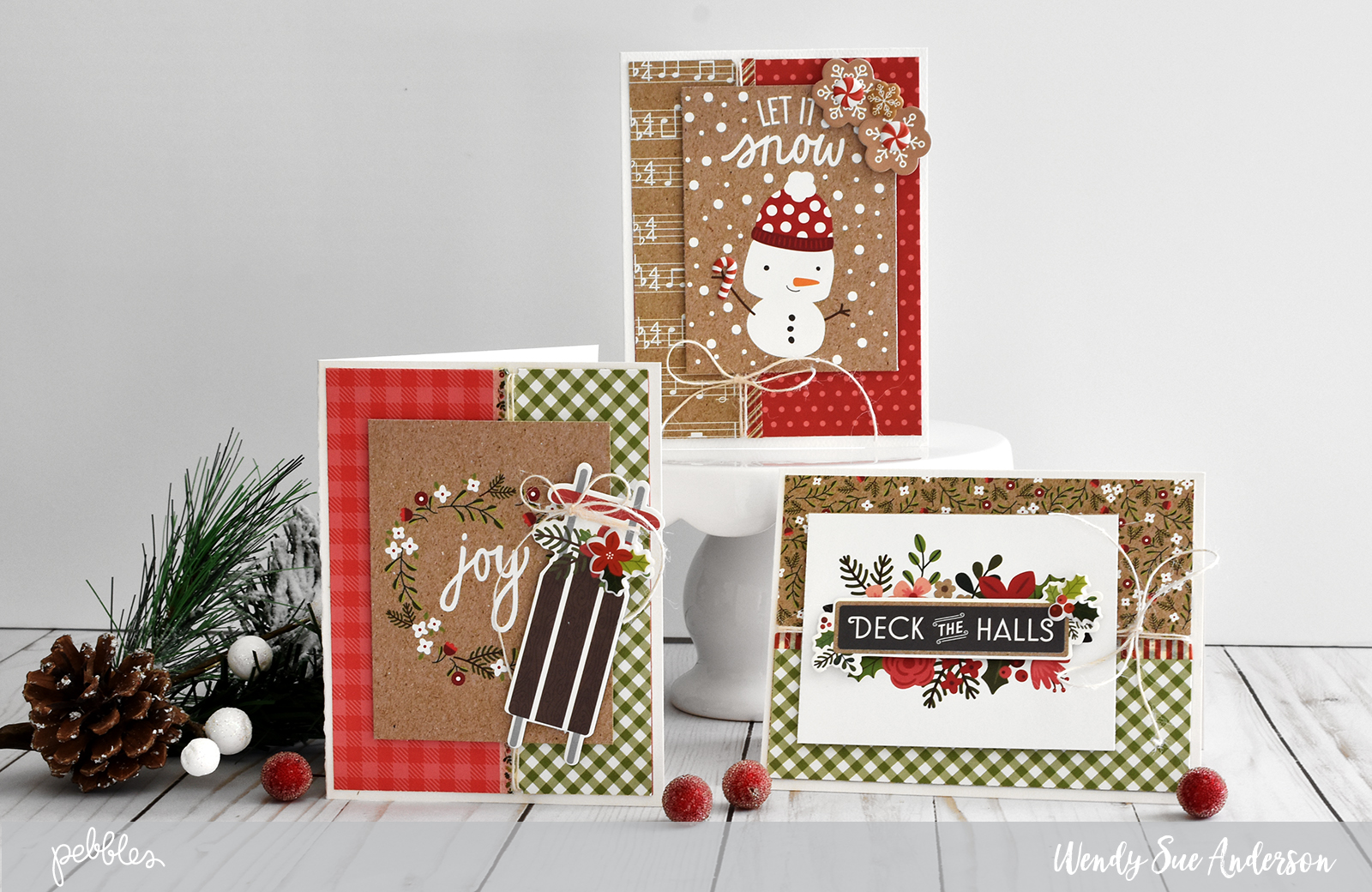 "quick and easy christmas cards by @WendySue with the ""Merry Merry"" collection by @PebblesInc"