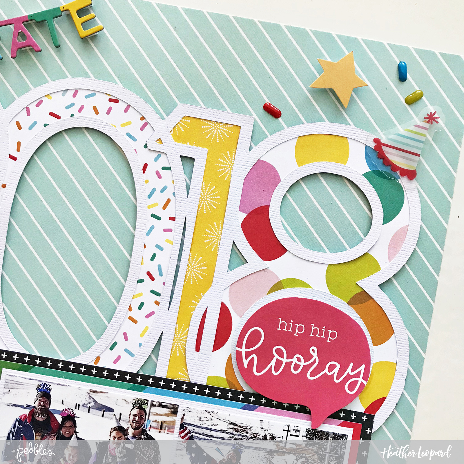 2018 New Years Scrapbook Layout and free cut file by @HeatherLeopard using @PebblesInc #happyhooray and #girlsquad collections #madewithpebbles #silhouettecameo