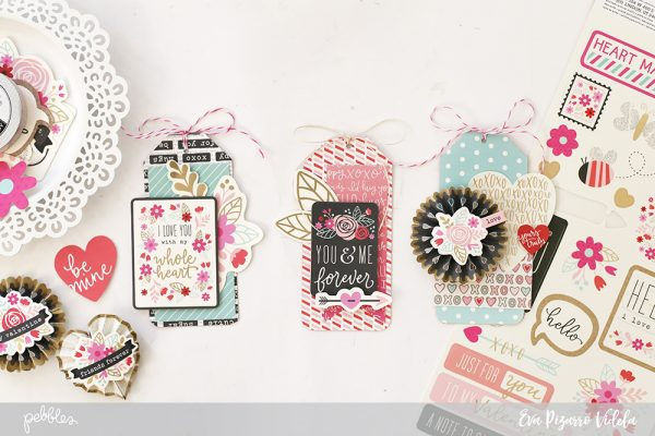 Create these adorable tag cards easily with this tutorial from @evapizarrov and the new #ForeverMyAlways line from @pebblesinc