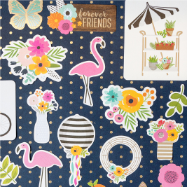 A new collection is here! The newest ephemera set from @pebblesinc and @tatertotsandjello includes Chinese lanterns, wreath forms, flamingos, flowers and more!