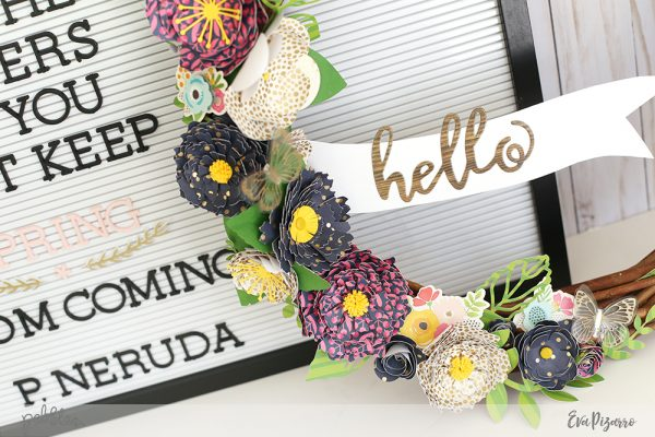 Create a Spring Paper Wreath with the new Patio Party collection by @pebblesinc and this tutorial from @evapizarrov