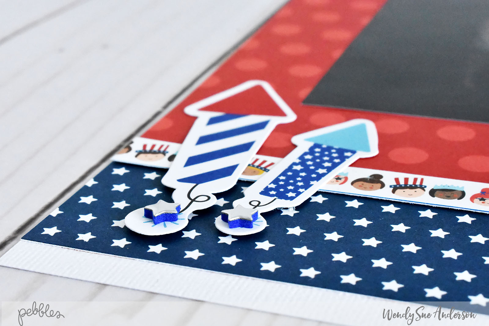 """4th of July Layout by Wendy Sue Anderson featuring the """"Land that I Love"""" collection (from @PebblesInc.) including hidden, stacked Photos!"""