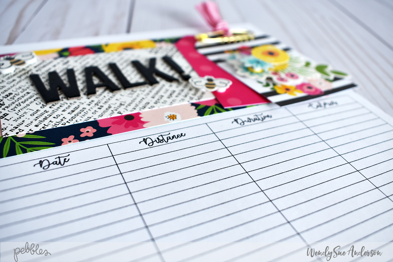 "Walking Journal by @WendySue featuring the ""Patio Party"" collection by @PebblesInc."