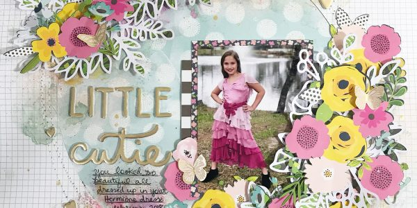 Little Cutie Floral Wreath Scrapbooking Layout