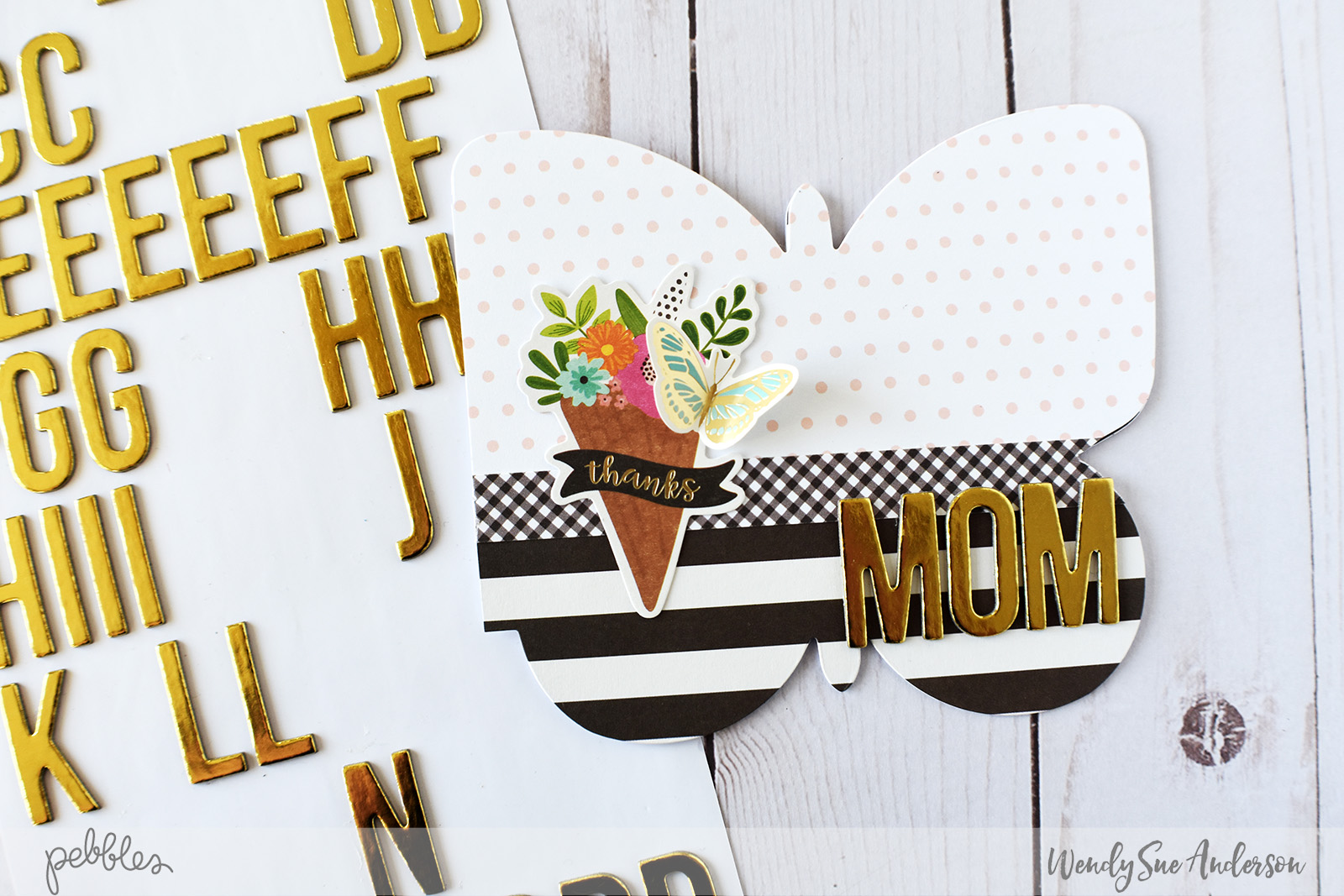 "Quick and Easy Butterfly Shaped Mother's Day Cards by @WendySue with the ""Patio Party"" collection by @PebblesInc."