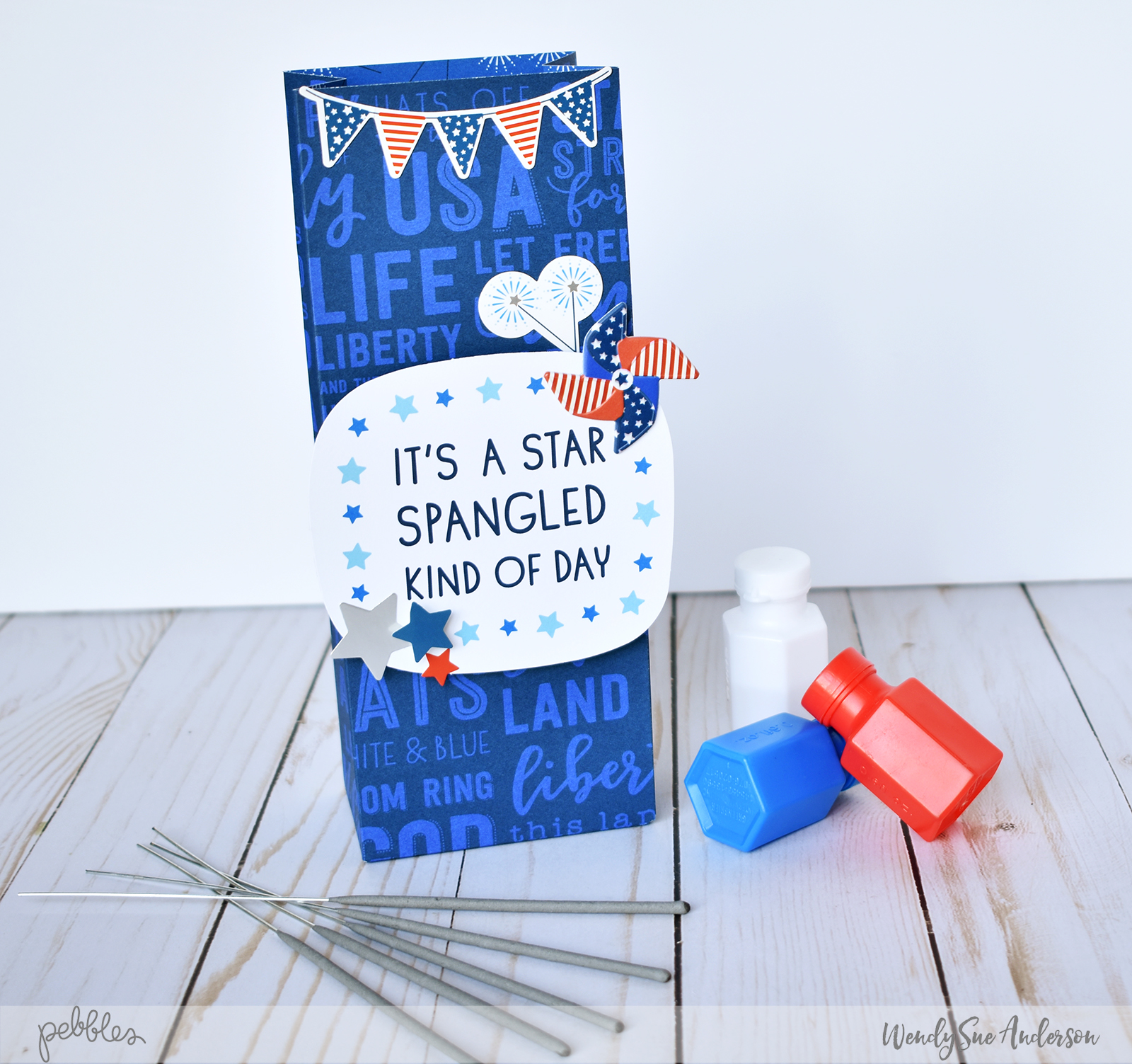 "Quick and Easy Patriotic Gift Bags by Wendy Sue Anderson featuring the ""Land that I Love"" collection by @PebblesInc."