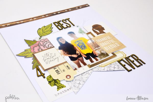 Create a Best Friend layout with a twist using @PebblesInc Heart of Home collection.