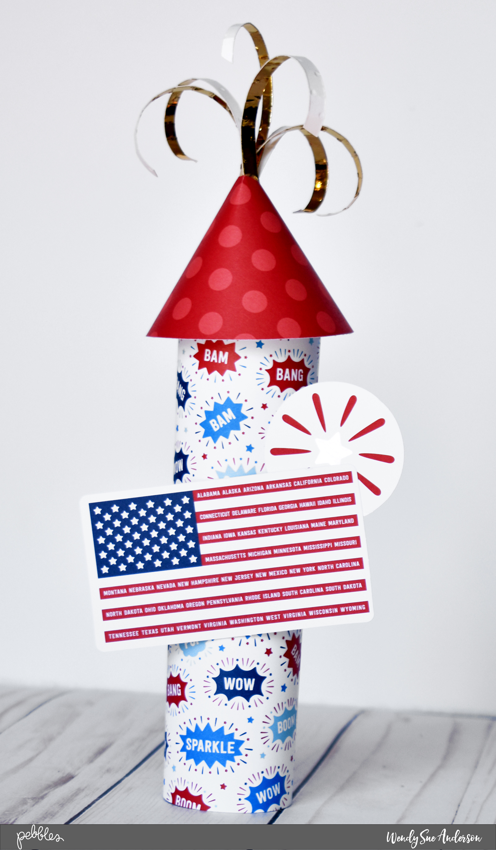 "DIY 4th of July Patriotic Firecrackers by @WendySueA featuring the ""Land That I Love"" collection by @PebblesInc."