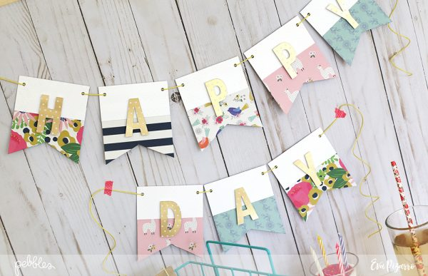 Decorate your next party with a handmade banner and favors using the new My Bright Life from @pebblesinc. Project by @evapizarrov