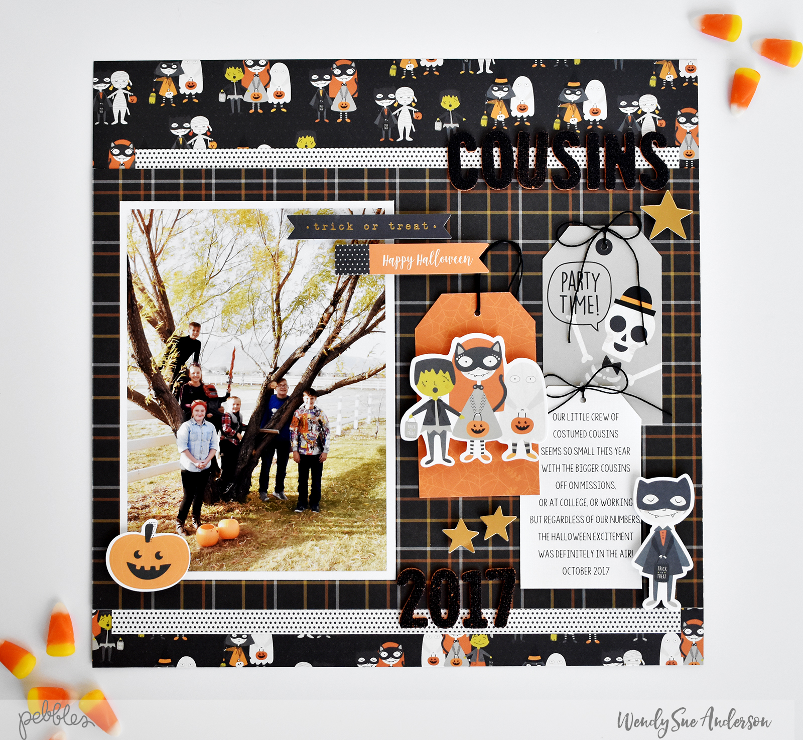 "Happy Halloween layout by Wendy Sue Anderson featuring the ""Spooky Boo!"" Collection by @PebblesInc."