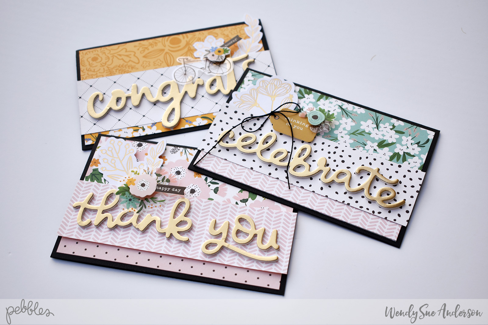 "Quick and Easy Cards by Wendy Sue Anderson featuring the ""Along the Way"" Collection by Jen Hadfield for @PebblesInc."