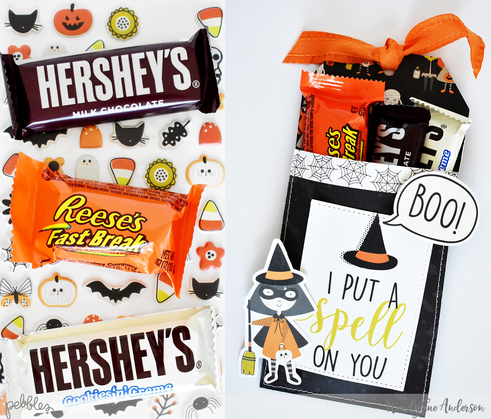 """Halloween Pocket Treat Tags by Wendy Sue Anderson by Wendy Sue Anderson featuring the """"Spooky Boo!"""" Collection by @PebblesInc."""