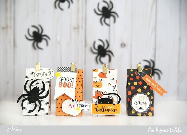 alt text: Create a fun set of treat boxes for this Halloween with this tutorial from @evapizarrov using the new #SpookyBoo line from @pebblesinc