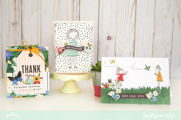 Use your favorite items from the Along the Way line from @pebblesinc to create this lovely Thank You Card Trio. pc:@evapizarrov #pebblesinc #madewithpebbles