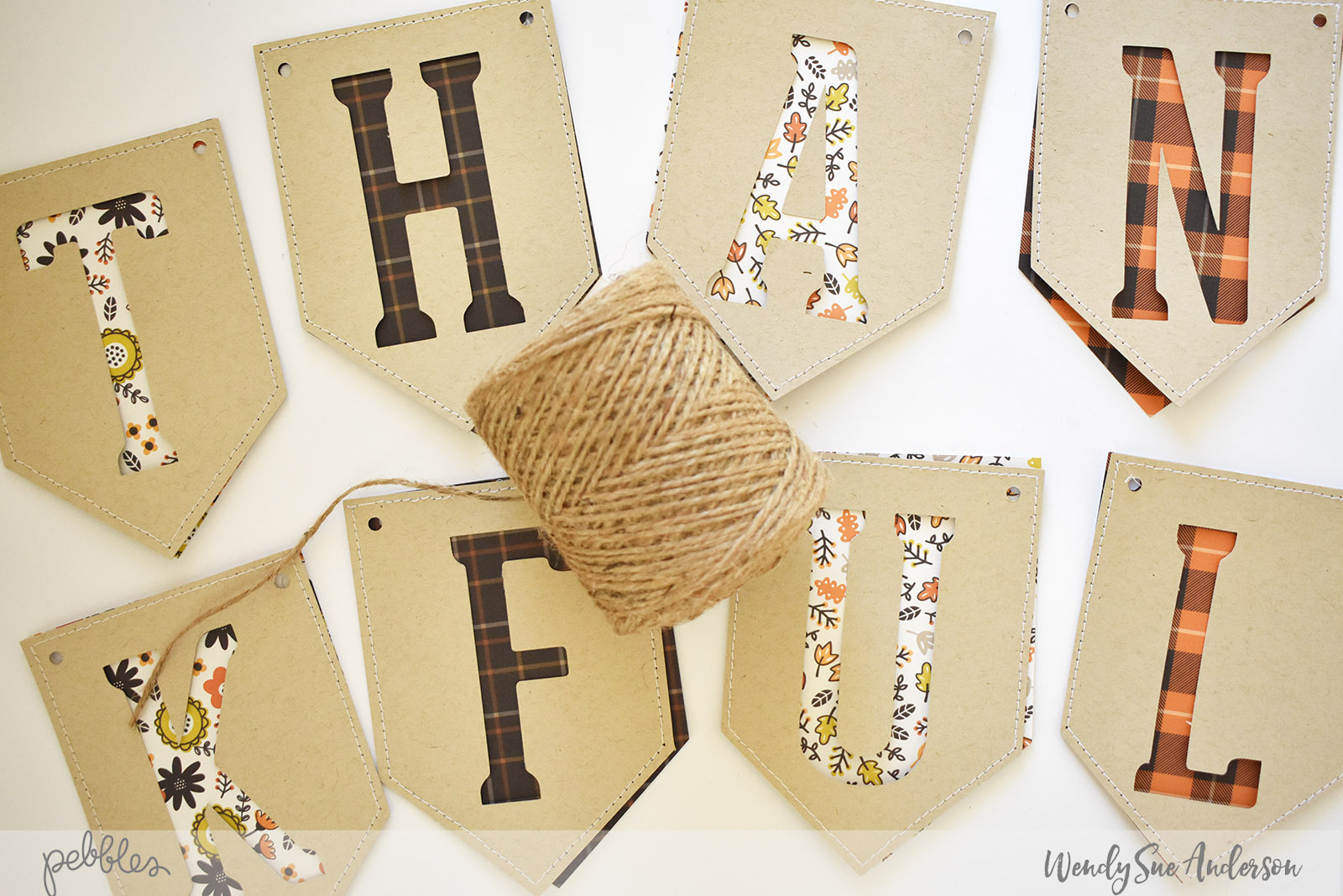 """Quick and Easy Thanksgiving Banner by Wendy Sue Anderson with the """"Spooky Boo"""" collection by @PebblesInc."""