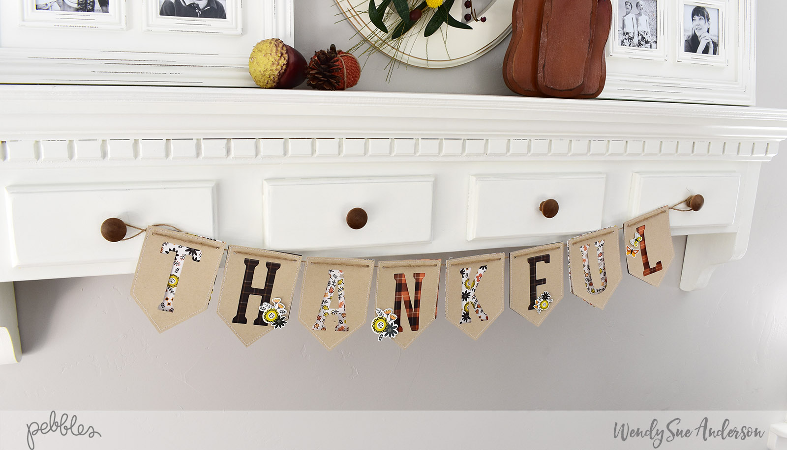 "Quick and Easy Thanksgiving Banner by Wendy Sue Anderson with the ""Spooky Boo"" collection by @PebblesInc."