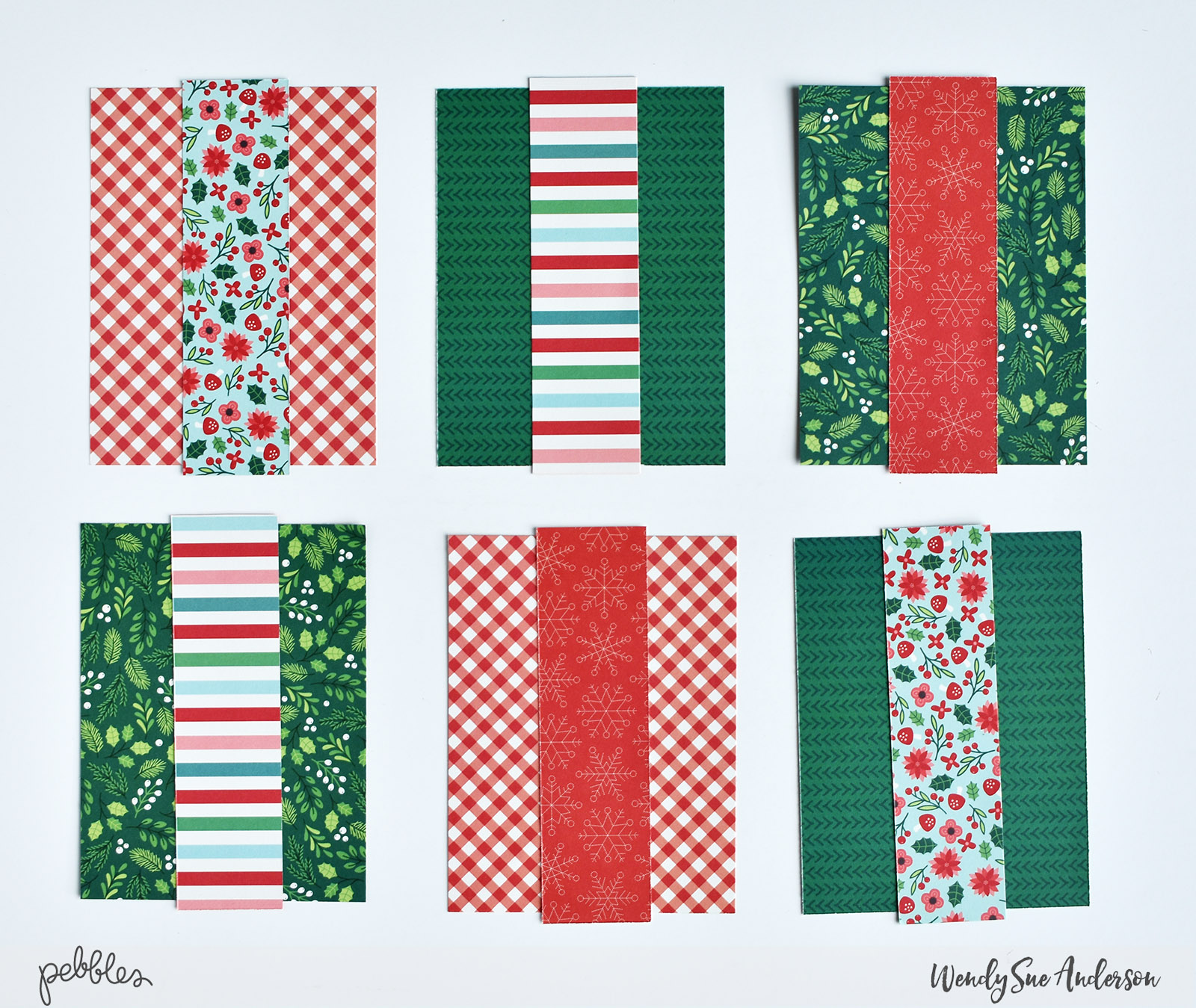"Quick and Easy Christmas Card Set by Wendy Sue Anderson for @PebblesInc. with the ""Cozy & Bright"" Collection"