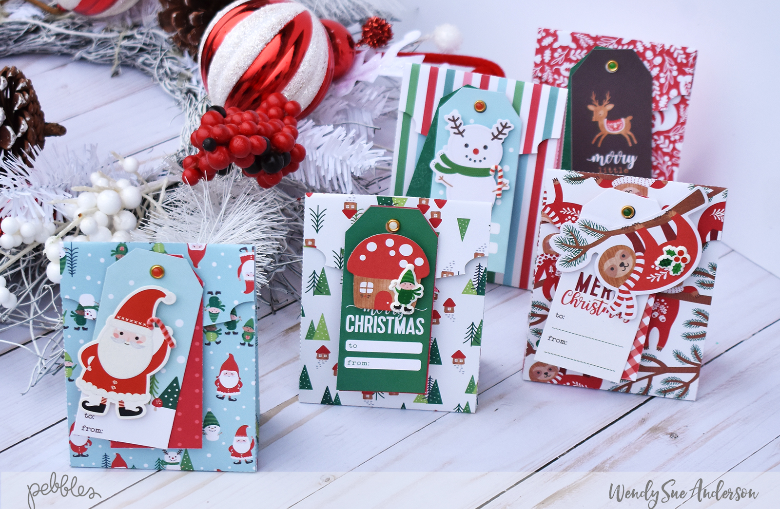 "Mini Christmas Treat Bags by Wendy Sue Anderson featuring the ""Cozy & Bright"" collection by @PebblesInc."